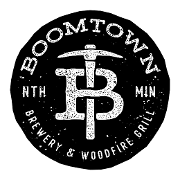 This is the restaurant logo for BoomTown Brewery & Woodfire Grill