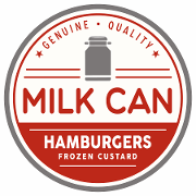This is the restaurant logo for Milk Can Hamburgers & Frozen Custard
