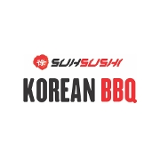 This is the restaurant logo for Suh Sushi Korean BBQ
