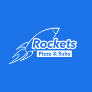 This is the restaurant logo for Rockets Pizza and Subs
