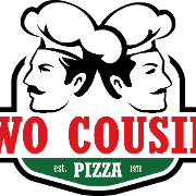 This is the restaurant logo for Two Cousins Pizza