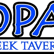 This is the restaurant logo for Opa! Greek Taverna