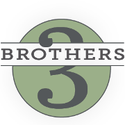 This is the restaurant logo for Brothers Three Bar & Grill