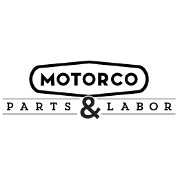 This is the restaurant logo for Motorco with Parts&Labor
