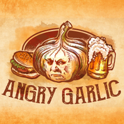 This is the restaurant logo for Angry Garlic