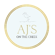 This is the restaurant logo for AJ's on the Creek
