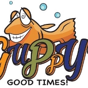 This is the restaurant logo for Guppy's Good Times