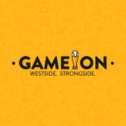 This is the restaurant logo for Game On Bar and Grill