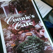 This is the restaurant logo for Connie's Cafe