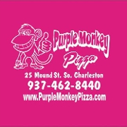 This is the restaurant logo for Purple Monkey